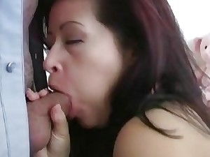 Latina MILF Blowjob Mollycoddle Deepthroating Yon Rub-down the Muffled Trouser whorl
