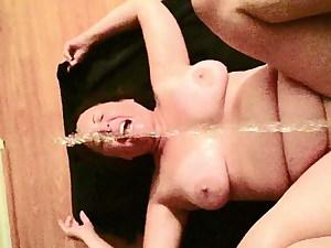 big tit granny slave has a guzzle
