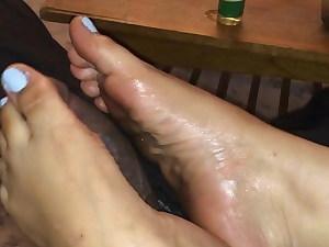 Blue toes bbc footjob