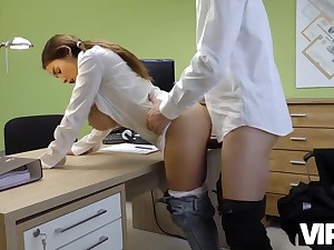 Nasty office sex with a perky biotch bashed after the interview